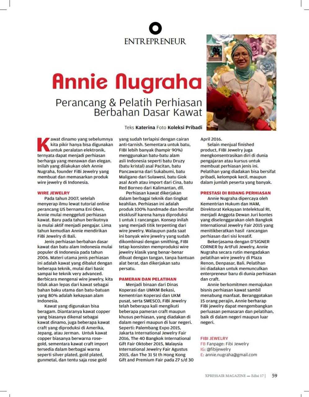 ANNIE NUGRAHA |  | Xpress Air In Flight Magazine | September 2017